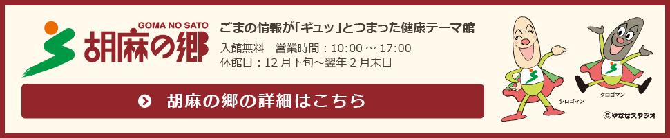 胡麻の郷 ごまの情報が「ギュッ」とつまった健康テーマ館 入館無料 営業時間:10:00~17:00 休館日:12月下旬~翌年2月末日