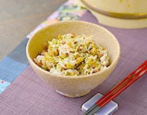 真誠ごまレシピ桜えびと青のり赤米ご飯